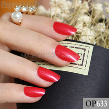 24pcs new product hot sales candy oval decorative fake nails short round section sexy red With flash fit comfortable R26 P633