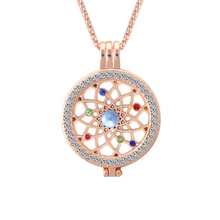 Trendy Can be opened My coin Necklace female Hollow Inlay Rhinestone Circle mesh Frame long chains with pendants Necklaces women(China)