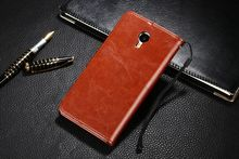 TUKE Luxury Flip Magnetic Leather Cover Stand Wallet Case for Meizu M1 Metal/ Meilan Metal Cell Phone Cases with Card Holders