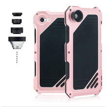 207 Shockproof Waterproof Metal Alluminum Alloy Camera Shell Phone Case For iPhone7 with Wide Angle Macro Fisheye Lens Telephoto(China)