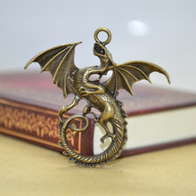 5Pcs Zinc Alloy Charms Antique Bronze Plated dragon Charms Pendants Metal Jewelry Findings Fit DIY 43*44mm 1440