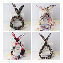 New Girls Korean Pattern Bunny Rabbit Ear Ribbon Headwear Hairband Metal Wire Scarf Headband Women Hair Ornaments Headband