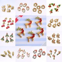 5pcs Assorted Christmas Tree Elk Ornament Snowflakes Gift For Weding Christmas DIY Accessories pendant no chain new year gift