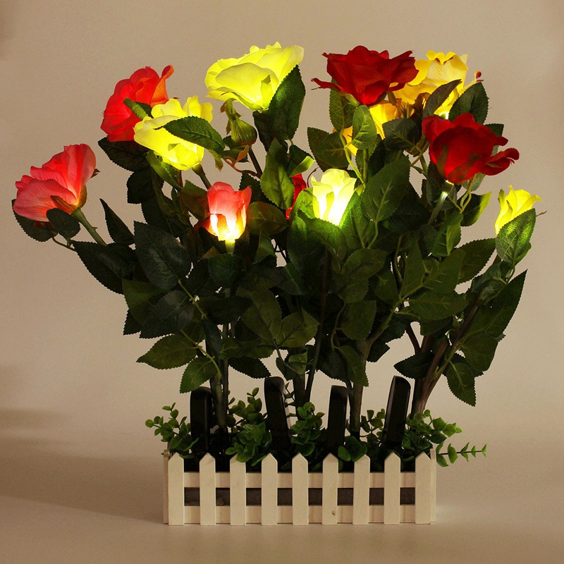 New Arrival Garden Lawn Decoration View Rose Flower Solar Light Waterproof Ip55 Power 3led Led In Lamps From Lights