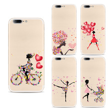 New Fashion Silicone Coque For iPhone 7 Phone Cases Ultra Thin Slim Transparent Soft TPU Butterfly Dancing girl Skin Back Cover