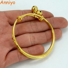 Anniyo Bell Bangle For Baby / Kids Gold Color Ethiopian Bracelet Africa Arab Jewelry Circlet Child Gift #005107