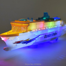 Simulation electric boat model/universal music light luxury cruise ship/car model/baby toys for children/toy/rc car/ship(China)