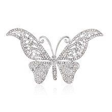 Wholesale Jewelry Supplier New Fashion Hot Selling Brooches Butterfly Korea Style CZ Wedding Bridal White silver plated