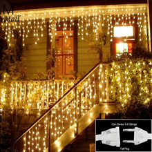 Christmas lights Indoor Outdoor Decoration 3.5m Droop 0.3-0.5m Curtain Icicle String Led Lights for Home Garden Party 110 220V(China)