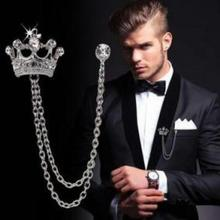 Men's High-grade Crown Brooch British Wind Suit Chains Pin Badge Retro Rhinestones Corsage Jewelry Gift Brooches Silver Medal(China)