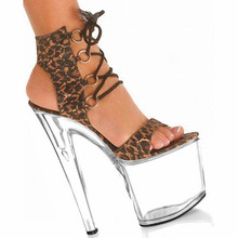 Sexy Leopard Cross Straps Sandals Lace-Up Suede Women Pumps High With 20CM High Heels Transparent Sole Dance Shoes(China)