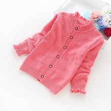 2016 new spring and autumn girls' sweaters 2-6 years children cardigans cotton sweaters 1616