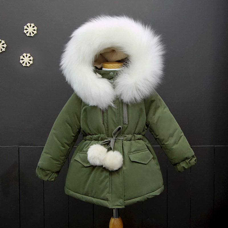 UNINICE Girls Winter Coat Childrens Thicken Cotton Parkas For Girls Fur Collar Hooded Jacket Kids Warm Coats Girl Outwear 2-13Y<br>