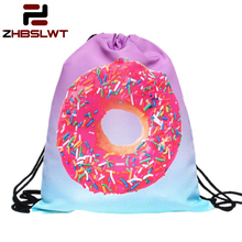 ZHBSLWT New Fashion Donut Pink 3D Printing Drawstring Bag Women Backpack  Travel Softback Women Mochila -085
