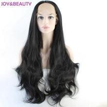 JOY&BEAUTY 26inch Long Body Wave style Synthetic Hair Lace Front wig High Temperature Fiber For Natural black Women Wig(China)