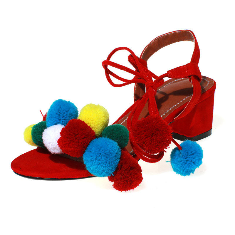 Mavirs 2017 Fashion Brand New Colorful Hairball Summer Shoes Sexy High Heels Womens Pom Pom Sandals Blue Pink Red Black Shoes<br>