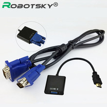 HDMI to VGA Video Converter Adapter Cable Set For Full 1080P Convert Signal From HDMI Input Laptop PS3 to VGA Output Monitors(China)