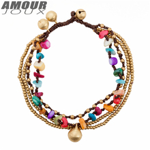 AMOURJOUX Ethnic Handmade Braid Colorful Stones Bell Leg Anklets For Women Ankle Bracelet Woman Anklet Female Foot Jewelry
