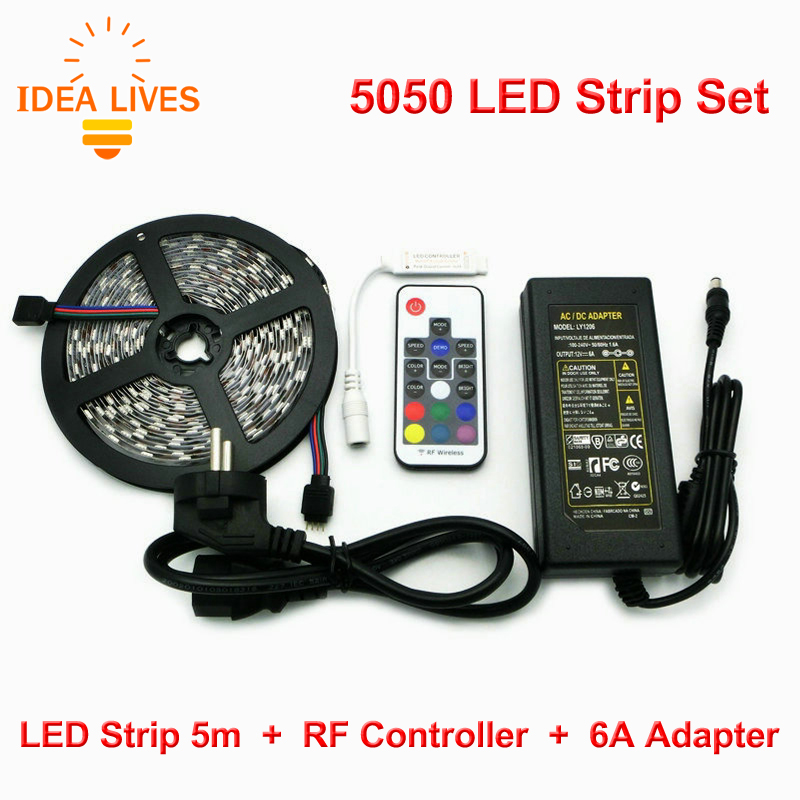 DC12V 5050 RGB LED Strips Set, 5m 300 LEDs Fleixble Light + RF Controller + 6A Adapter.<br><br>Aliexpress