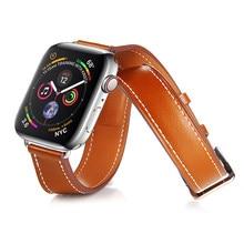 785080c30f4 3 modelos pulseira de Couro para a apple watch 4 banda 42mm 38mm 44mm 40mm  iwatch 3 2 1 hermes pulseira de couro fivela clássico.