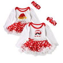 First Christmas Baby Rompers + Headband Santa Newborn body suits babywears Baby Romper tutu Dress Baby Girl Long sleeve Clothes(China)