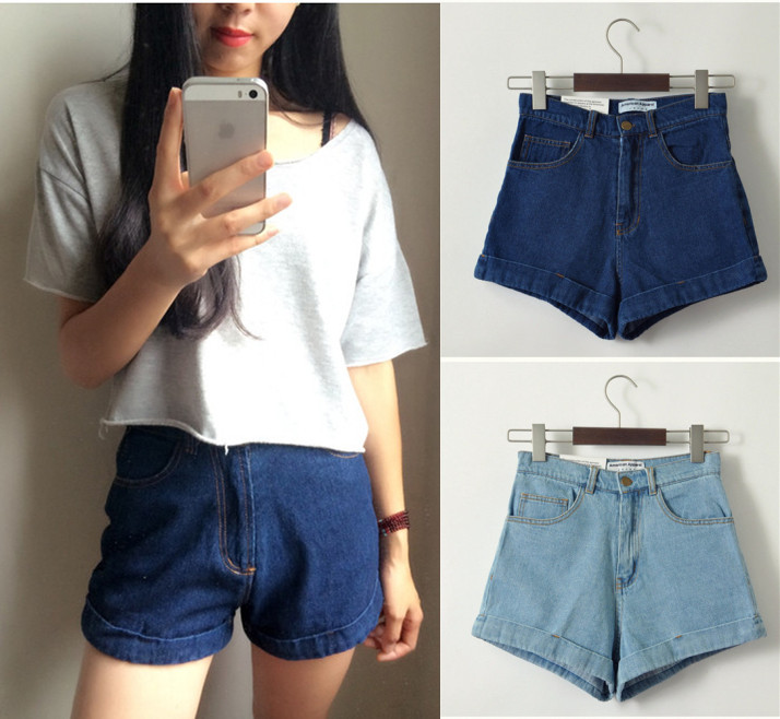Europe and America Brand Fashion High Waisted Leg Wide Jeans Shorts Girls Wash Retro Plus Size Slim Denim Apparel Free ShippingОдежда и ак�е��уары<br><br><br>Aliexpress