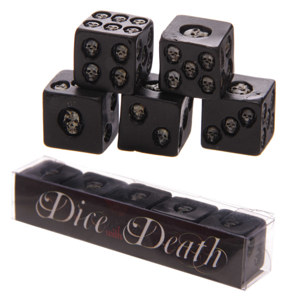 5Pieces/Set Gothic Dices with Black Grinning Skulls