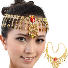 2016 Belly Dance Costume Red Gem Headwear Bead Gold Coin Dancer Dancing Jewelry Yoga Wholesale