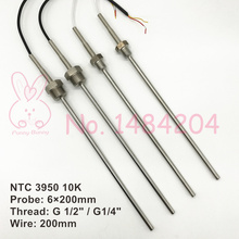 "2x NTC 3950 10K Thermistor Temperature Sensor SUS304 6mm*200mm Probe 200mm Wire Waterproof -40~150 Degree Thread G 1/2 G1/4""(China)"