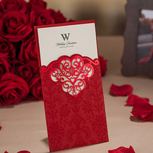 (50 pieces/lot) New Laser Cut Wedding Invitations Customized Print Elegant Red Invitation Cards For Wedding Decoration CW2007