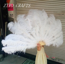 Big Ostrich Feathers Fan With Bamboo Staves for Belly Dance Halloween Party Ornament Decor Necessary, 13 bones(China)