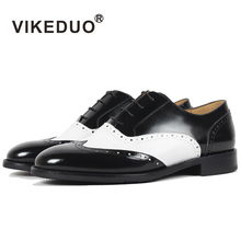 VIKEDUO Brand Classic Luxury Black White Cowskin Leather Women Oxford Shoes Lace Up Brogue Ladies Dress Shoes Casual Style(China)