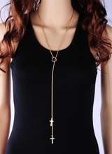 Shaped Little Cross Gold  Alloy Pendant Necklace Trade Simple  Vintage Trendy Long Chain Collar Jewelry for Fashion Women