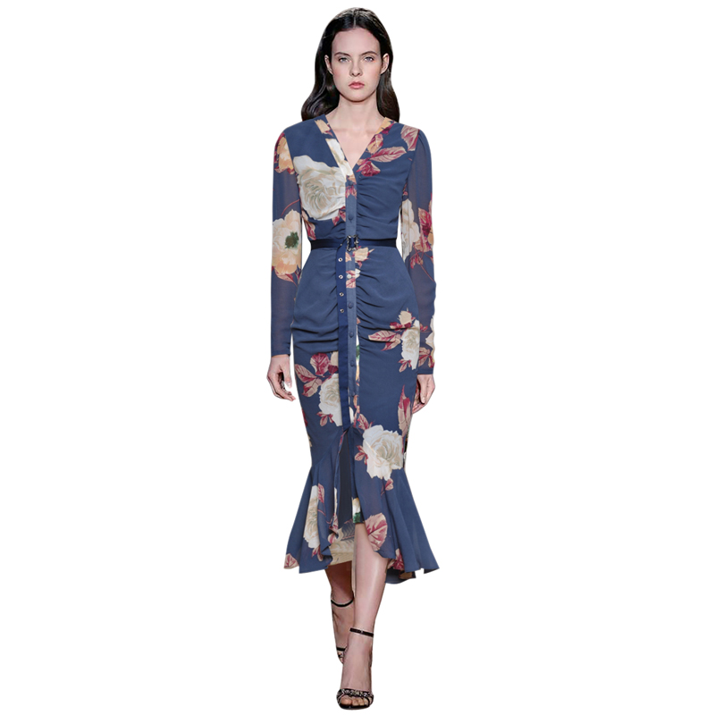 bohemian clothes v neck ruched details button down buckle belted long sleeve ruffle hem dress runway fashion fish tail dress