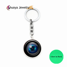 Camera Lens Keychain Glowing S&Y 2017 New Fashion Gold Color Glass Camera Lens Key Chain Men Glow In Dark Key Chain Women(China)