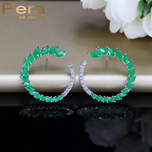 Pera Classic Ear CC Brand Green Stone Pave Setting Fashion Women Party Sterling Silver 925 Big Stud Cubic Zirconia Earrings E279(China)