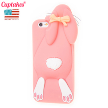 Cuptakes Soft Silicone Case for iPhone 5S 5 4S SE 6 6S 7 Plus Cover Cute 3D Rabbit Rubber Phone Cases Coque film Brand Cartoon