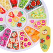 12 Patterns 3D Polymer Clay Tiny Fimo Fruit Nail Sparkle Colorful Lovely 3D Nail Art Decorations Ornaments DIY Nail Wheel