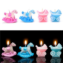 2017 New Cute Baby Carriage Candle Favors Christening Birthday Cake Decoration Gift 1 PCS(China)
