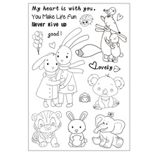 Cartoon Cute Animals Transparent Clear Silicone Stamp/seal for DIY Scrapbooking/photo Album Decorative Clear Stamp Sheets(China)