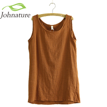 Johnature 2017 New Summer Vest Sleeveless Linen Cotton Loose Women Tanks Soft Long O Neck Conforatble Vest Hot Top Casual(China)