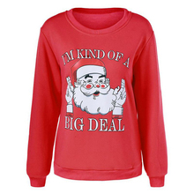 NIBESSER Autumn Long Sleeve Sweatshirt Hoodies Women Coats Santa Claus Printed Christmas O-Neck Plus Size Pullover 2017