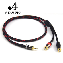 ATAUDIO Hifi 3.5mm Male to 2RCA Female Cable 4N OFC 3.5 to RCA Audio Cable(China)