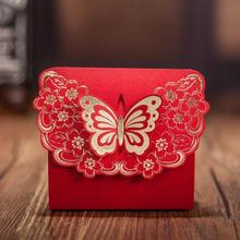 CB5520 Red Laser Cut Wedding Favor Box / Candy Box / Chocolate Box Match CW5520 Invitation Card(China)