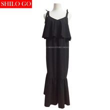 SHILO GO Korea Chic style new fashion summer women high quality beach holiday bow suspenders sexy cute fishtail dress in black
