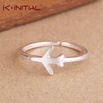 Kinitial 1Pcs High 925 Sterling SIlver Adjustable Matt Plane/Aircraft airplane Open Ring Fashion Jewelry For Party Birthday Gift