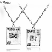 Free Shipping Vintage Jewelry Breaking Bad Necklace Chemical Symbol Br Ba Pendant Brothers Couple Necklace Gift