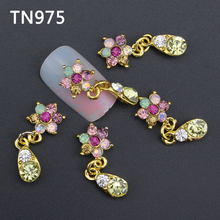 10pc Glitter Colorful Flower 3d Nail Art Decorations with Rhinestones, Alloy Nail Charms Jewelry for Nail Gel/Polish Tools TN975(China)