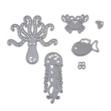 DIY cute 6pc crab fish sea life shape steel cutting die sweet wedding Book photo album art card cake Dies Cut(China)