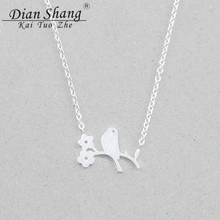DIANSHANGKAITUOZHE 2017 Trendy Products Charm Pendant Necklace Women Bird Flower Nacklace Stainless Steel Jewelry BFF Collares
